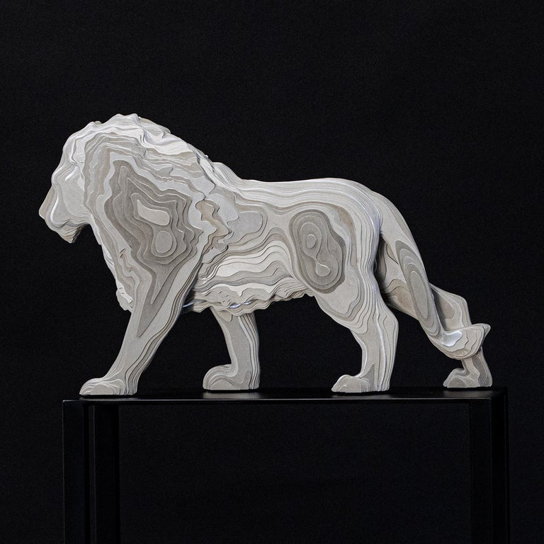 Lion Medium Polished Sculpture For Sale 1