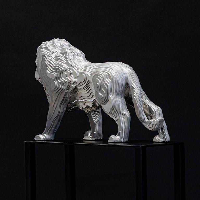 Lion Medium Polished Sculpture For Sale 2