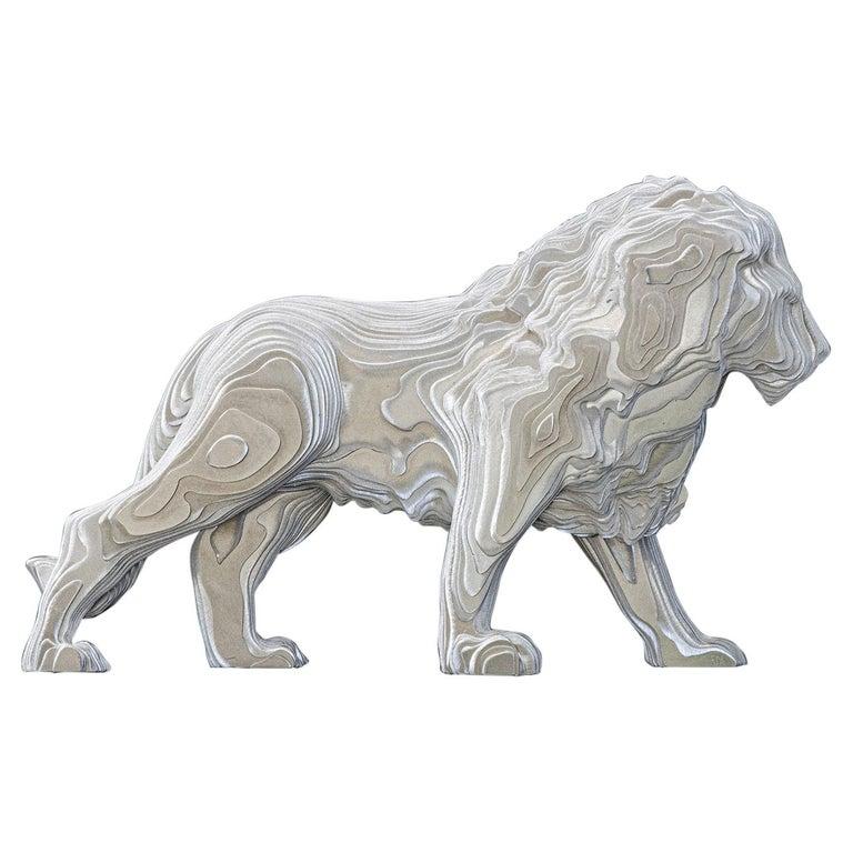 Lion Medium Polished Sculpture For Sale