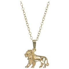 Lion Pendant in Solid Gold