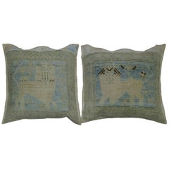 Lion Powder Blue Antique Rug Square Pillows Set of 2