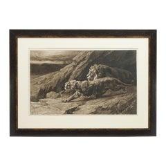 """Lion Print, """"Raiders"""" von Herbert Dicksee, Radierung"""