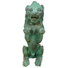 Lion Rampant Cast Bronze Sculpture, 20th Century