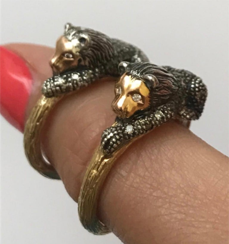 Set with a regal lion, who signifies protection, the Animal Lion Stackable Ring can be worn alone, or stacked with others in Bibi's collection. The textured ring is fashioned in 18k yellow gold to resemble a branch, while the lion is in blackened