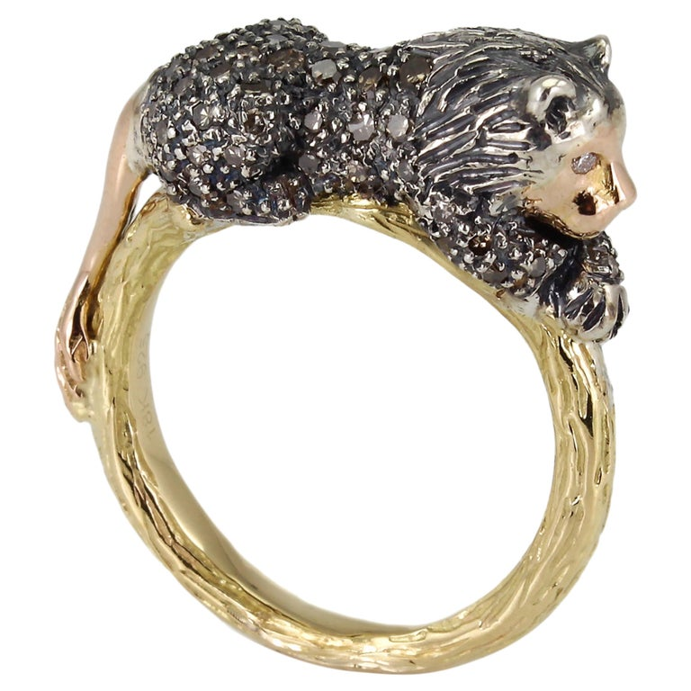 18K Yellow and Rose Gold Brown Diamond Lion Stackable Statement Ring For Sale