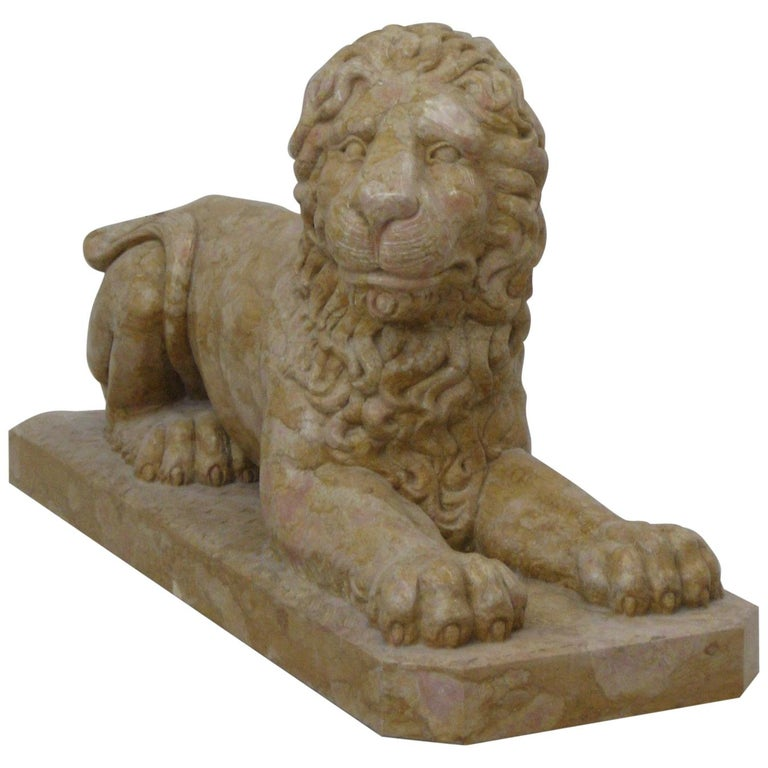 Lion Statue in Rosso Verona Marble by Kreoo For Sale