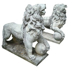Lion Statues for Garden, Vintage Cast Stone