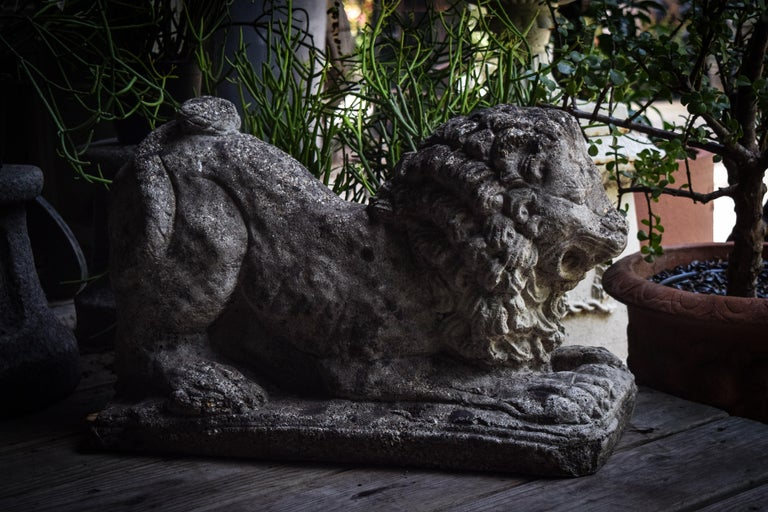 Lion Statues in Repose In Good Condition For Sale In Bloomfield Hills, MI