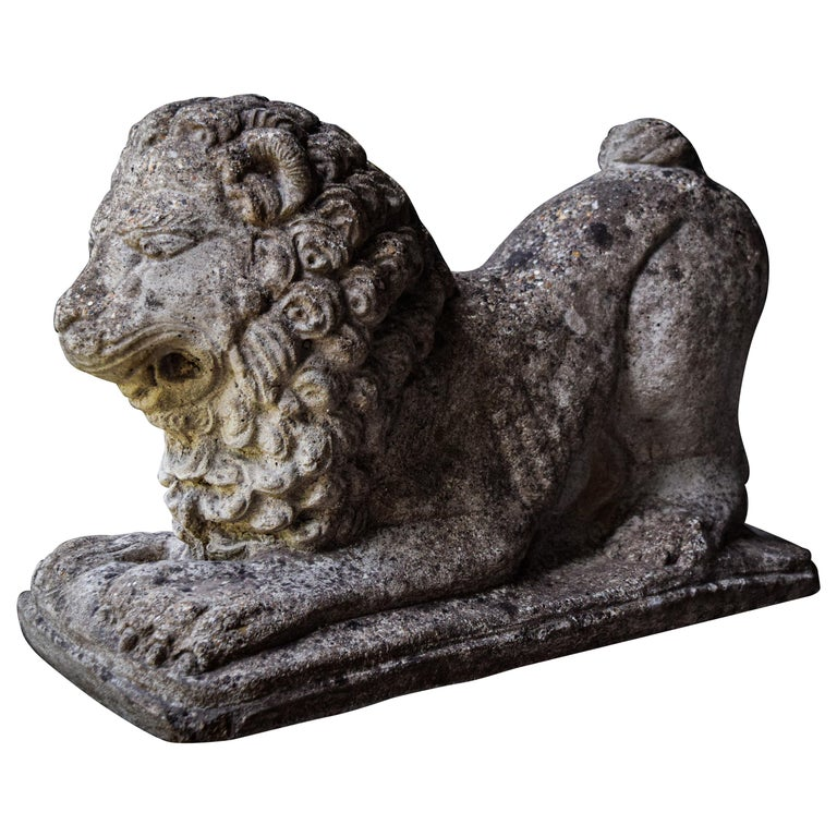Lion Statues in Repose For Sale