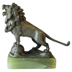 Bronze Lion with Onyx Marble Base Decorative Object