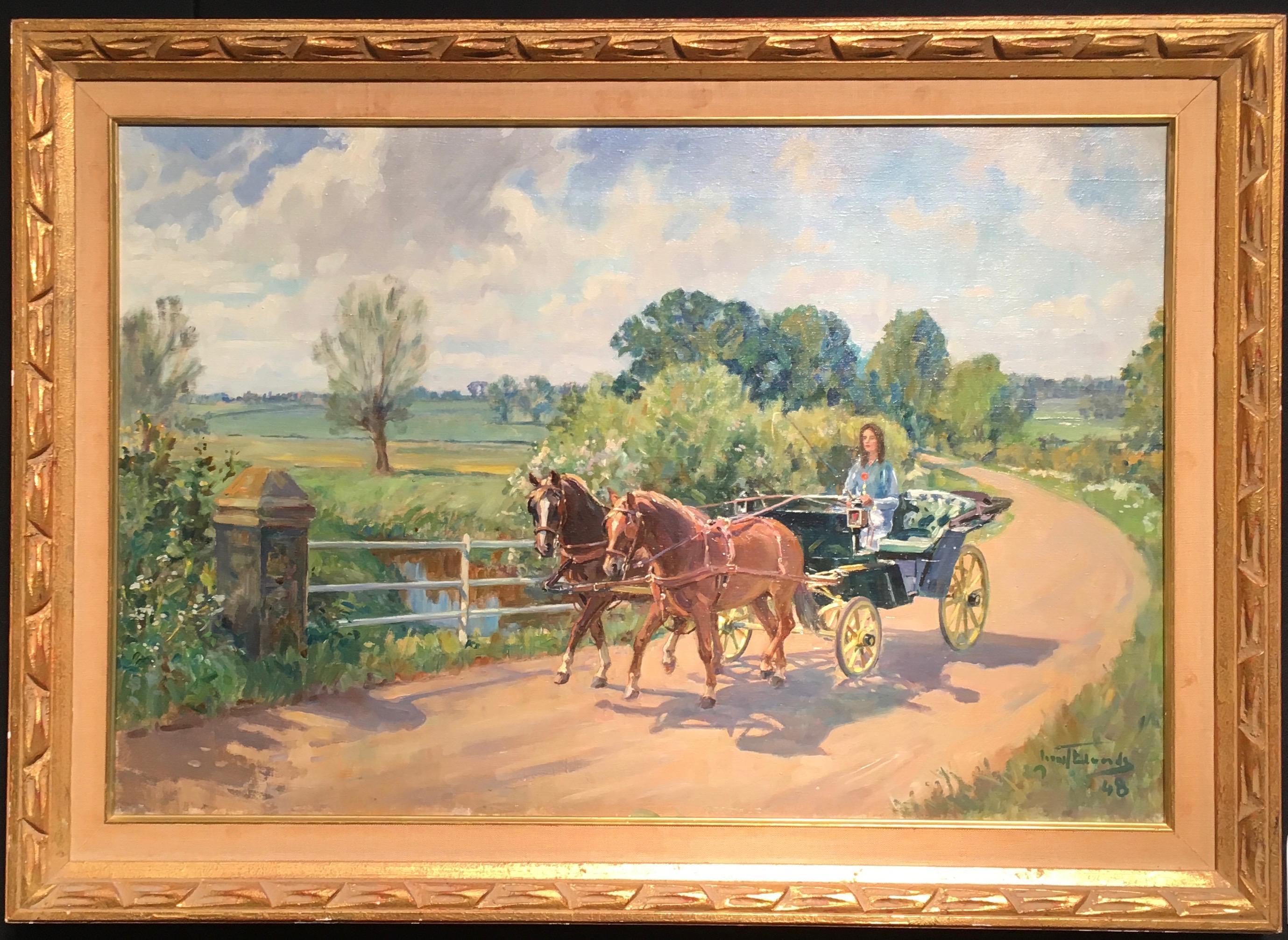 English lady in a horse drawn buggy trotting through an Impressionist landscape