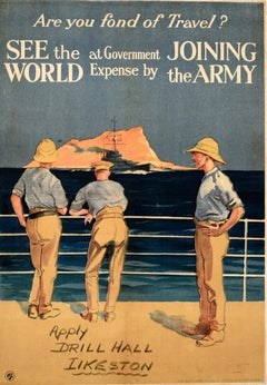 Original Antique Recruitment Poster See The World By Joining The Army Gibraltar