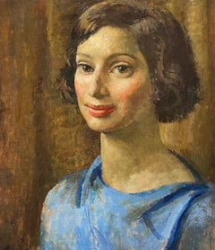 Portrait of a Woman in Blue   Original Oil Painting    Modern British