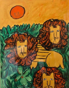 "Original Oil Painting ""LIONS"" in a Modernist Illustration Graphic Style"