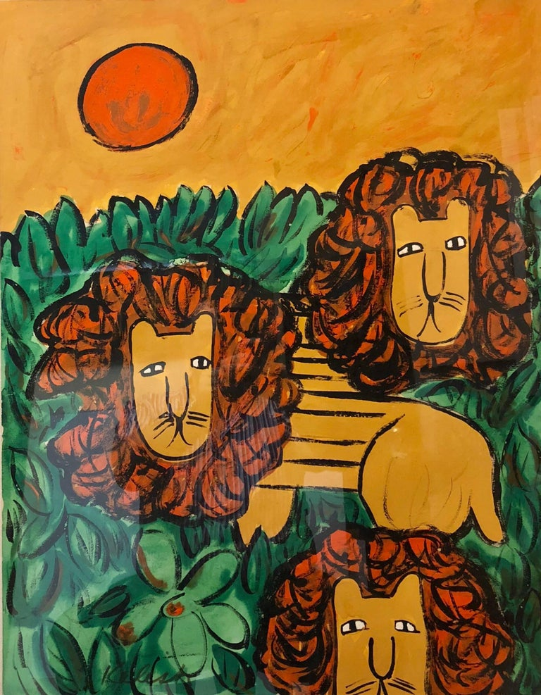"""Lionel Kalish Animal Painting - Original Oil Painting """"LIONS"""" in a Modernist Illustration Graphic Style"""