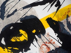Abstract Composition with Yellow and Black - Original etching, Handsigned