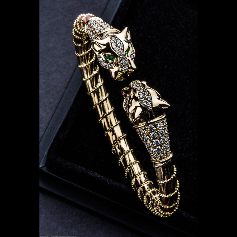 Women's or Men's 18 Karat Yellow Gold Diamonds Emeralds Spring Cuff Bracelet Lioness Ancient For Sale
