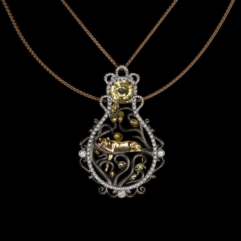Contemporary 18 Karat Yellow Gold 3.8 Carat Sapphire Briolettes Diamonds Pendant Necklace For Sale