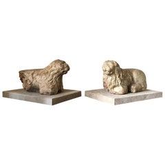 Lions Pair of Sculpture Marble Italian 13th Century Romanesque