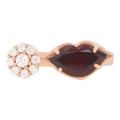 Lip Shaped Garnet Toi et Moi 14 Karat Rose Gold Fashion Band Ring Diamond Flower