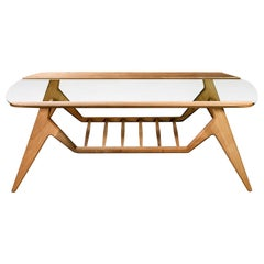 Lipa, Contemporary Natural Oiled Walnut and Glass Low Coffee Table with Storage