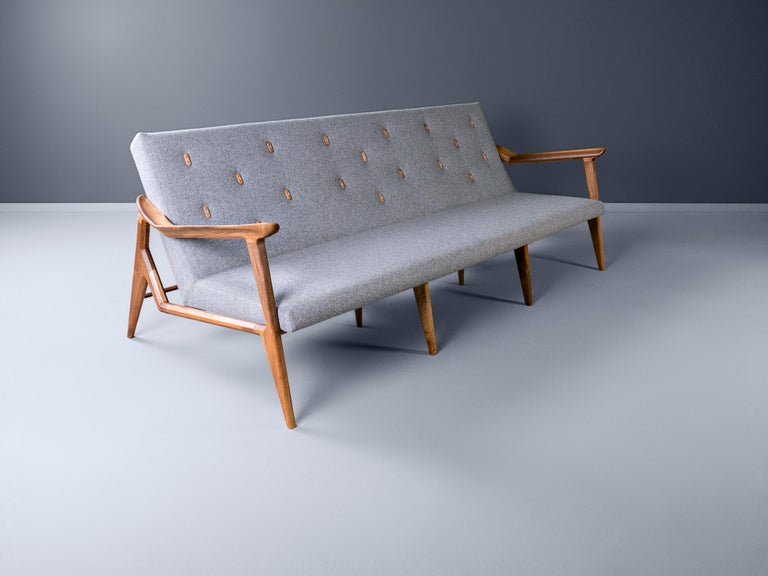 Serbian Lipa, Contemporary Wool Upholstered Three-Seat Sofa in Natural Oiled Walnut For Sale