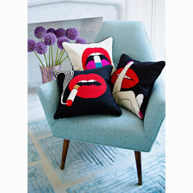 Lip Service. Trippy motifs put your sofa in a trance. Bold red lips demonstrate a trio of vices (or virtues, depending on who you ask).  A marriage of traditional and Mod style, our Lips Needlepoint Pillows are the perfect punctuation for your