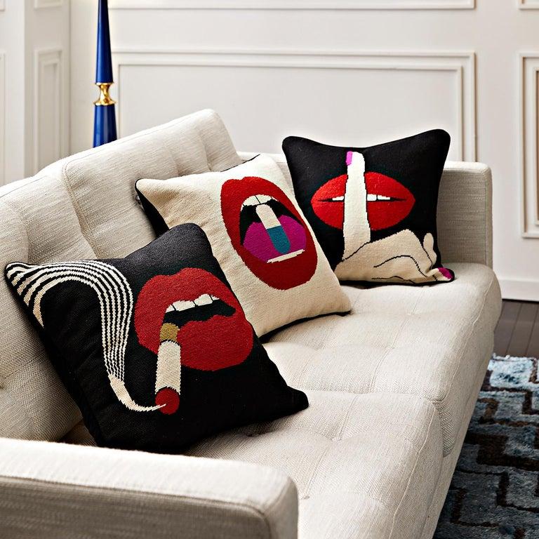 Modern Lips 'Hush' Needlepoint Throw Pillow For Sale