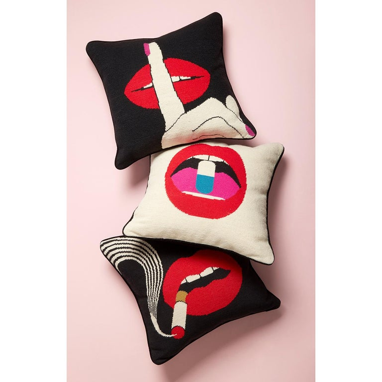 American Lips 'Smolder' Needlepoint Throw Pillow For Sale