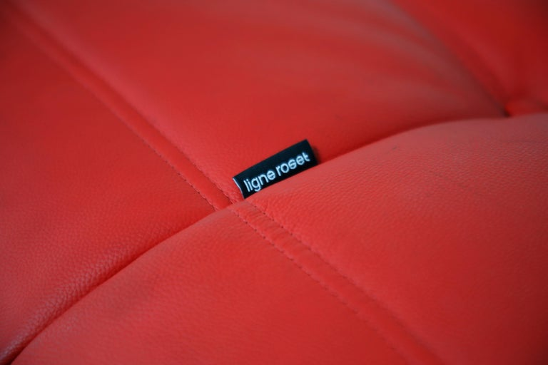 Lipstick Red Leather Togo Sofa by Michel Ducaroy for Ligne Roset, Signed, 1980s For Sale 5