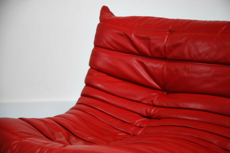 Lipstick Red Leather Togo Sofa by Michel Ducaroy for Ligne Roset, Signed, 1980s For Sale 6