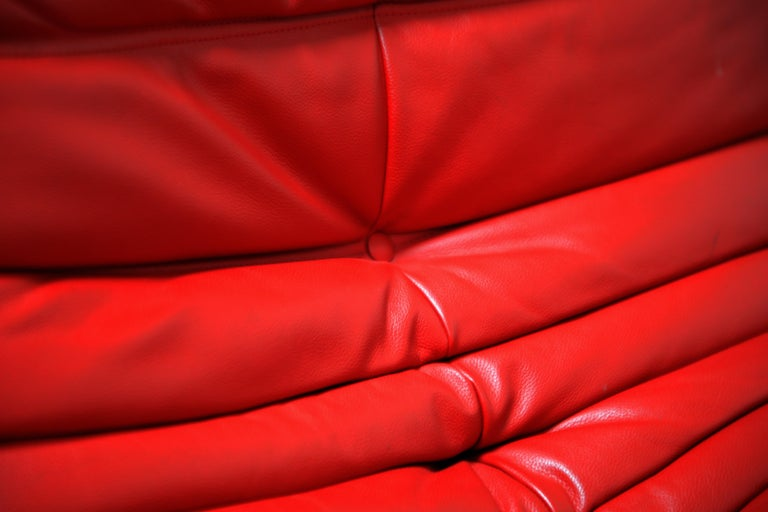 Lipstick Red Leather Togo Sofa by Michel Ducaroy for Ligne Roset, Signed, 1980s For Sale 9