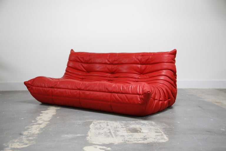 French Lipstick Red Leather Togo Sofa by Michel Ducaroy for Ligne Roset, Signed, 1980s For Sale