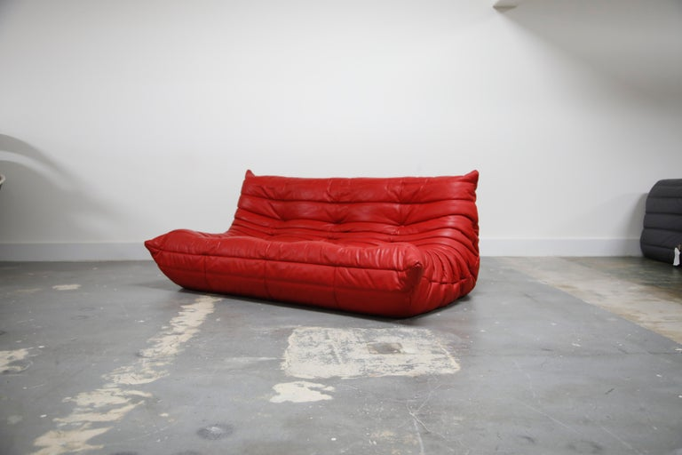 1960s Lipstick Red Leather Togo Sofa by Michel Ducaroy for Ligne Roset, Signed, 1980s For Sale