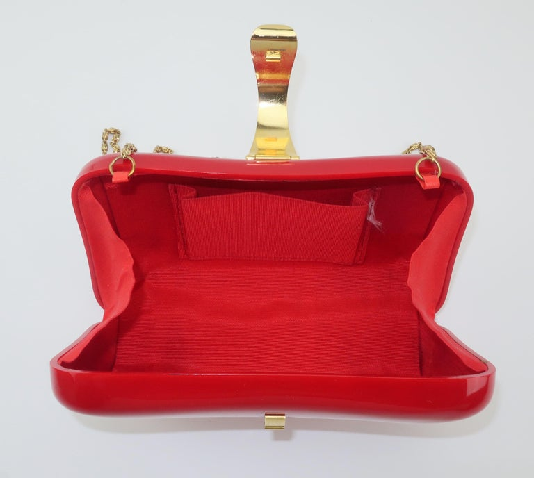 Lipstick Red Lucite Box Handbag, 1980's For Sale 6