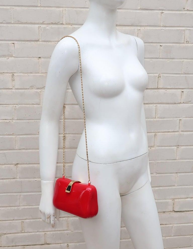 Women's Lipstick Red Lucite Box Handbag, 1980's For Sale
