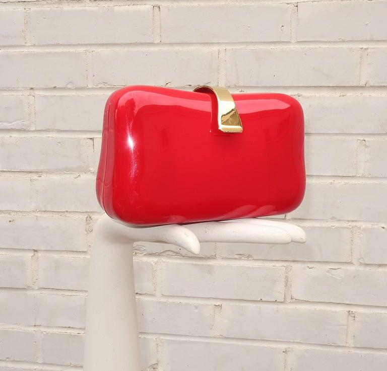 Lipstick Red Lucite Box Handbag, 1980's For Sale 1