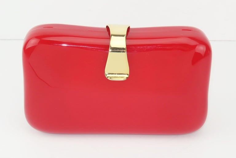 Lipstick Red Lucite Box Handbag, 1980's For Sale 2