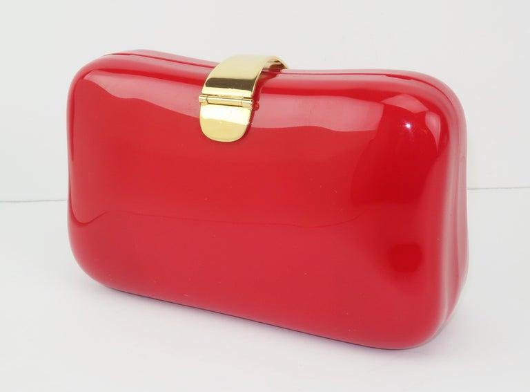 Lipstick Red Lucite Box Handbag, 1980's For Sale 3