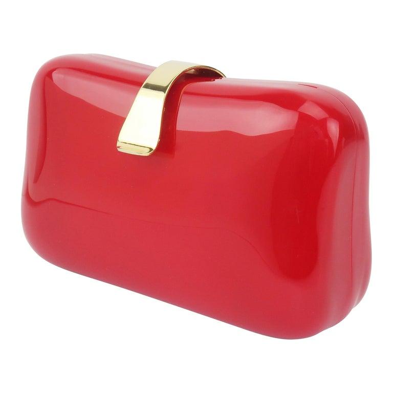 Lipstick Red Lucite Box Handbag, 1980's For Sale