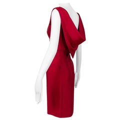 Lipstick Red Silk Sheath Dress with Convertible Scarf Back - Large, 1960s