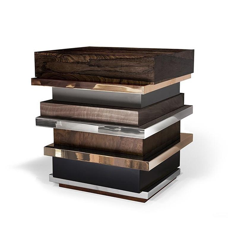 Lipstick Side Table 'Bronze, Stainless Steel, Walnut, Zirciote, Lacquer', Hudson 3