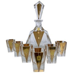 Liqueur Set in Lead Chrystal, Original Art Deco, Germany, 1930s