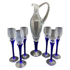 Liqueur Set Stemware and Decanter Mid-Century Modern, Murano Italy 1980s
