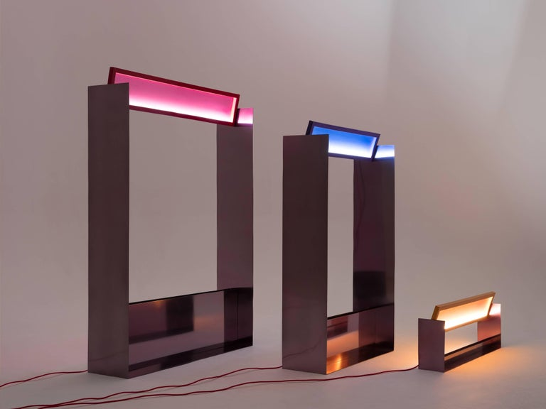 Russian Liquid Collusion Medium Light Sculpture by Liam Gillick & Harry Nuriev in Blue For Sale