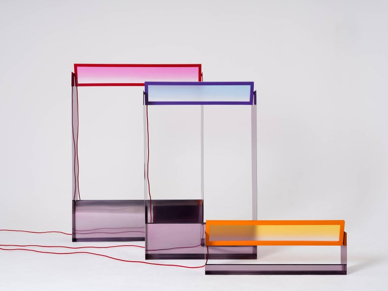Contemporary Liquid Collusion Medium Light Sculpture by Liam Gillick & Harry Nuriev in Blue For Sale
