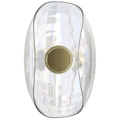 Liquid Curled Glass and Brass Contemporary Wall Light