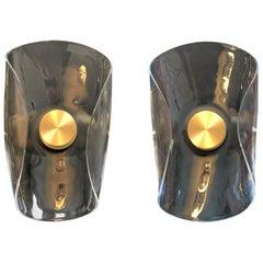 Liquid Glass and Brass Contemporary Wall Light, Sample Pair