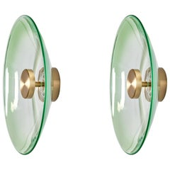 'Liquid Jade' Green Gradient Glass and Brass Wall Light Sconce, Sample, Pair