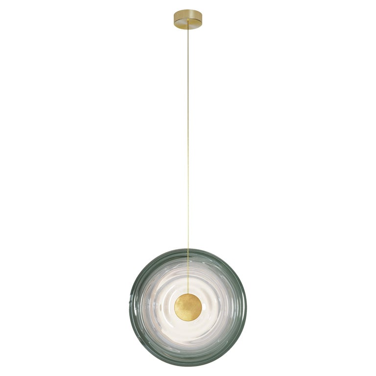 Liquid Vortex Solo Jade ceiling light in green gradient glass and aged brass